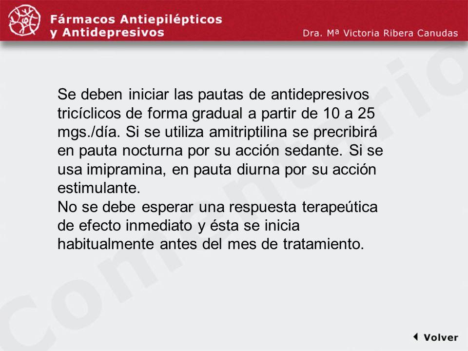 Comentariodiapo12 Se deben iniciar las pautas de antidepresivos tricíclicos de forma gradual a partir de 10 a 25 mgs./día. Si se utiliza amitriptilina