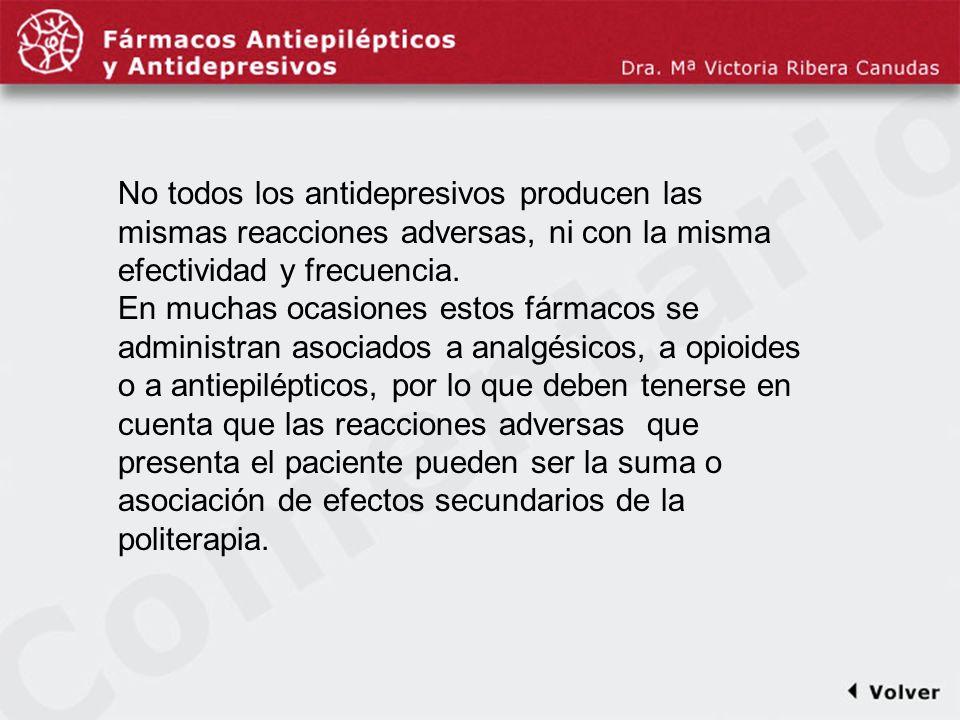 Comentariodiapo13 No todos los antidepresivos producen las mismas reacciones adversas, ni con la misma efectividad y frecuencia. En muchas ocasiones e