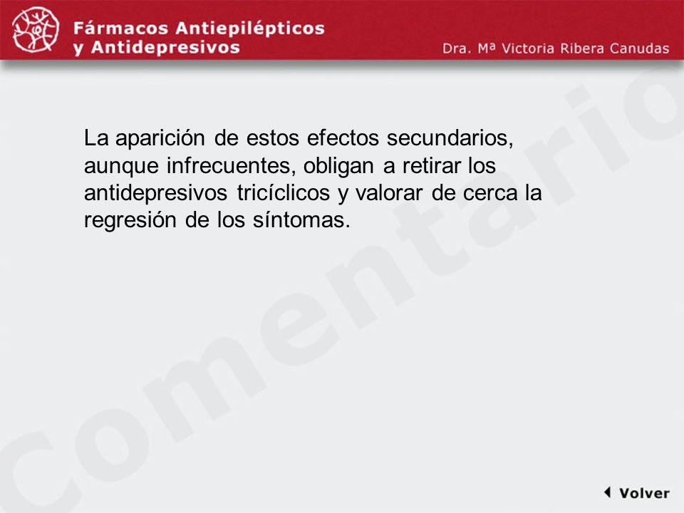 Comentariodiapo14 La aparición de estos efectos secundarios, aunque infrecuentes, obligan a retirar los antidepresivos tricíclicos y valorar de cerca