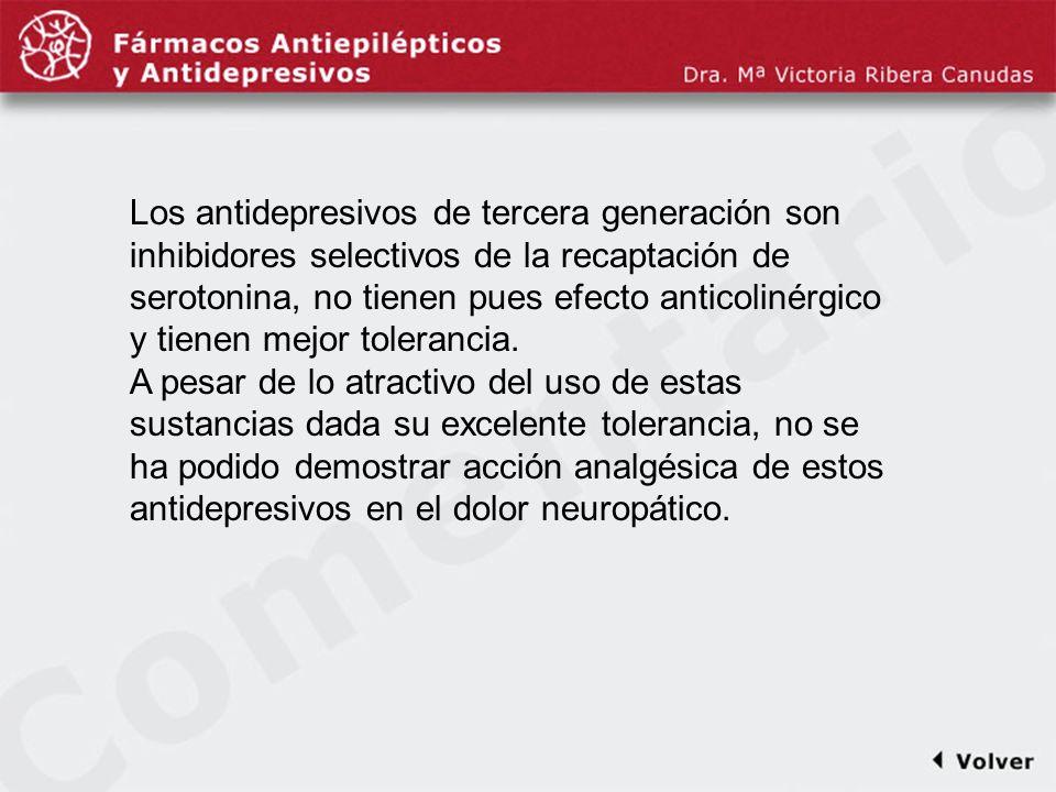 Comentariodiapo17 Los antidepresivos de tercera generación son inhibidores selectivos de la recaptación de serotonina, no tienen pues efecto anticolin