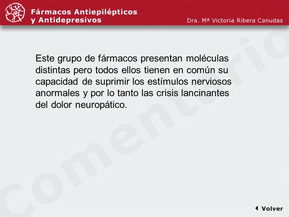 Comentariodiapo21 Este grupo de fármacos presentan moléculas distintas pero todos ellos tienen en común su capacidad de suprimir los estímulos nervios