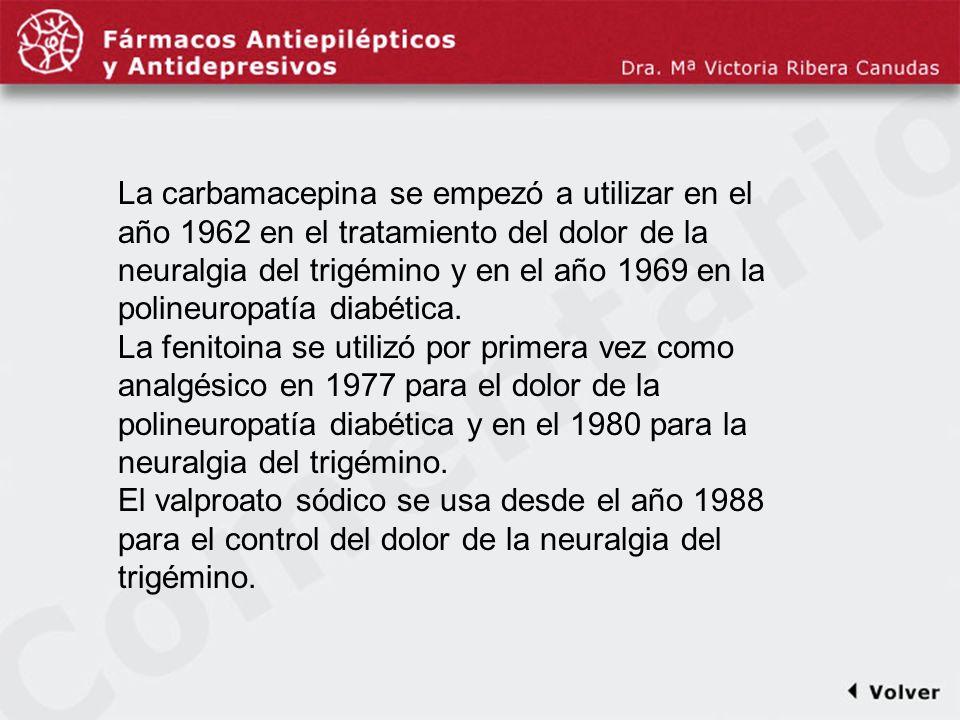 Comentariodiapo22 La carbamacepina se empezó a utilizar en el año 1962 en el tratamiento del dolor de la neuralgia del trigémino y en el año 1969 en l