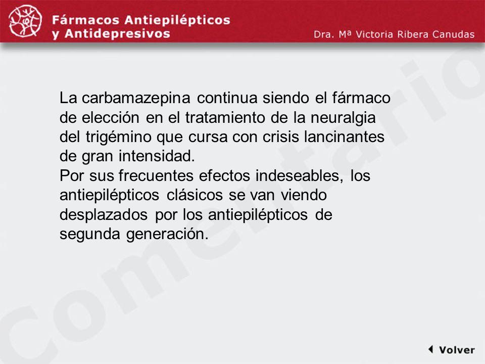 Comentariodiapo23 La carbamazepina continua siendo el fármaco de elección en el tratamiento de la neuralgia del trigémino que cursa con crisis lancina