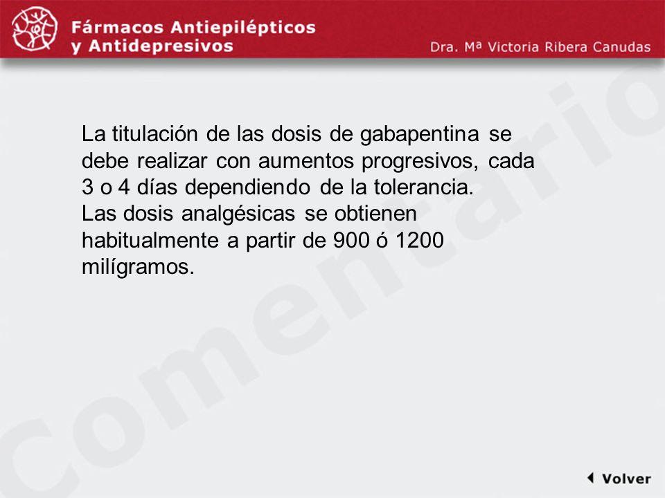 Comentariodiapo32 La titulación de las dosis de gabapentina se debe realizar con aumentos progresivos, cada 3 o 4 días dependiendo de la tolerancia. L