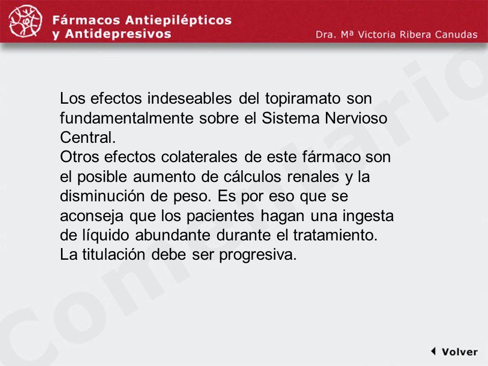 Comentariodiapo35 Los efectos indeseables del topiramato son fundamentalmente sobre el Sistema Nervioso Central. Otros efectos colaterales de este fár