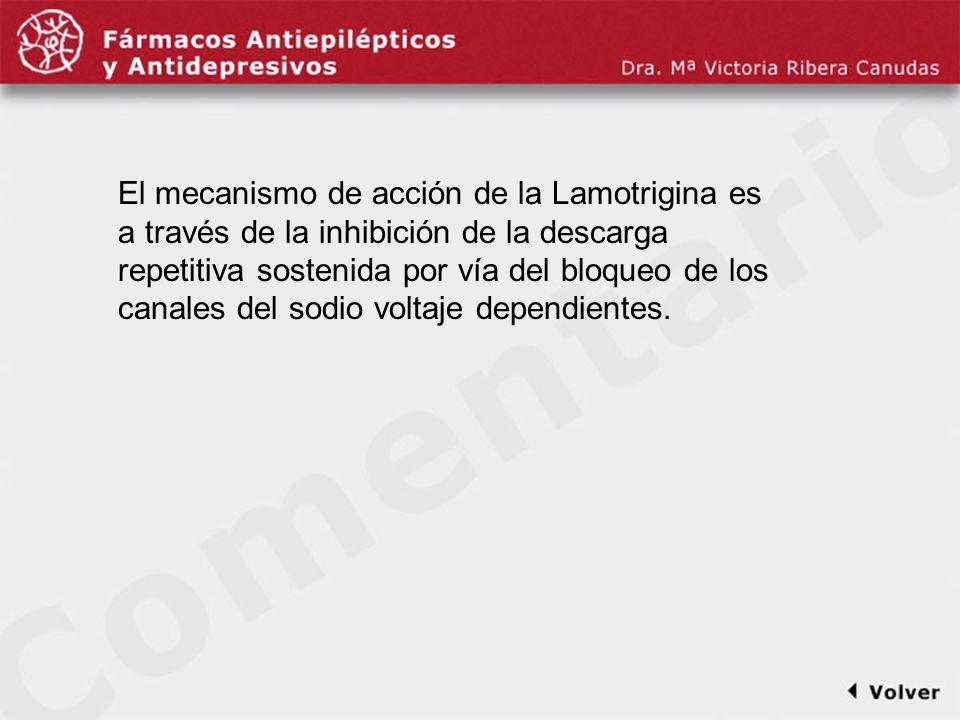 Comentariodiapo36 El mecanismo de acción de la Lamotrigina es a través de la inhibición de la descarga repetitiva sostenida por vía del bloqueo de los