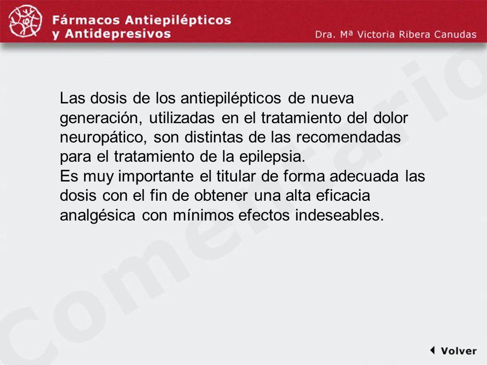 Comentariodiapo39 Las dosis de los antiepilépticos de nueva generación, utilizadas en el tratamiento del dolor neuropático, son distintas de las recom