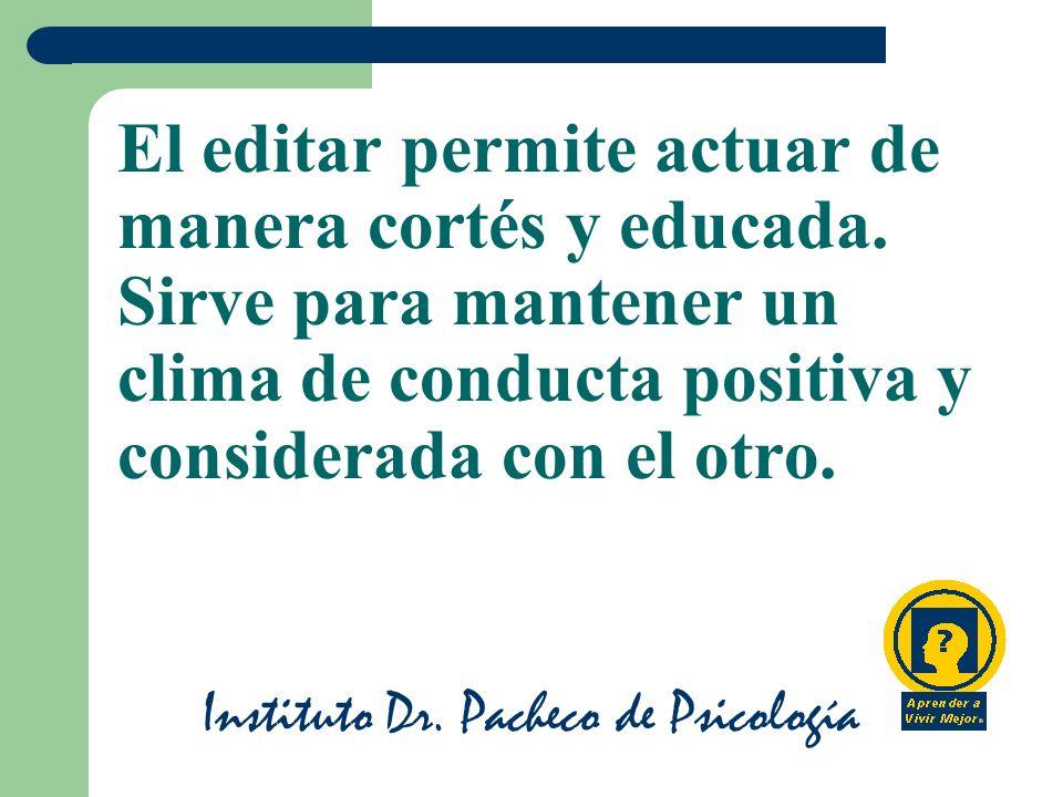 Instituto Dr.Pacheco de Psicología El editar permite actuar de manera cortés y educada.