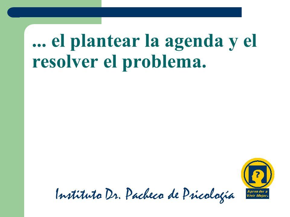 Instituto Dr. Pacheco de Psicología... el plantear la agenda y el resolver el problema.