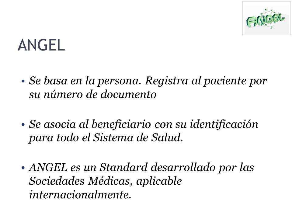 ANGEL Se basa en la persona. Registra al paciente por su número de documento Se asocia al beneficiario con su identificación para todo el Sistema de S