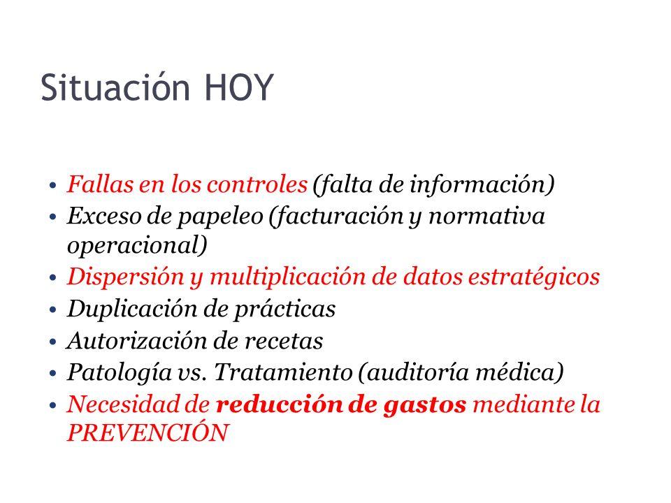 Situación HOY Fallas en los controles (falta de información) Exceso de papeleo (facturación y normativa operacional) Dispersión y multiplicación de da