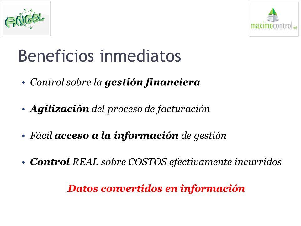 Beneficios inmediatos Control sobre la gestión financiera Agilización del proceso de facturación Fácil acceso a la información de gestión Control REAL