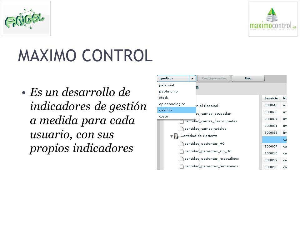 MAXIMO CONTROL Es un desarrollo de indicadores de gestión a medida para cada usuario, con sus propios indicadores