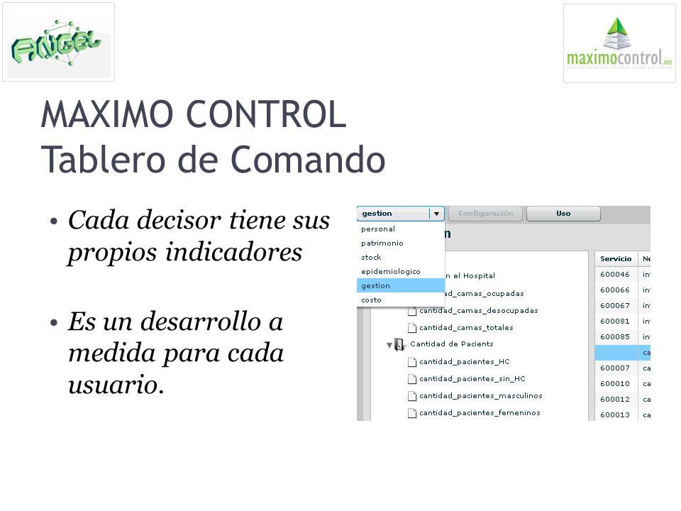 MAXIMO CONTROL Tablero de Comando Cada decisor tiene sus propios indicadores Es un desarrollo a medida para cada usuario.