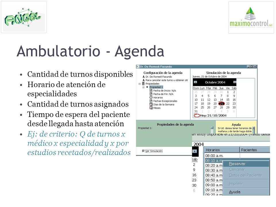 Ambulatorio - Agenda Cantidad de turnos disponibles Horario de atención de especialidades Cantidad de turnos asignados Tiempo de espera del paciente d