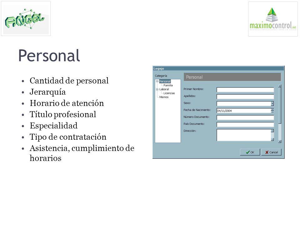 Personal Cantidad de personal Jerarquía Horario de atención Título profesional Especialidad Tipo de contratación Asistencia, cumplimiento de horarios