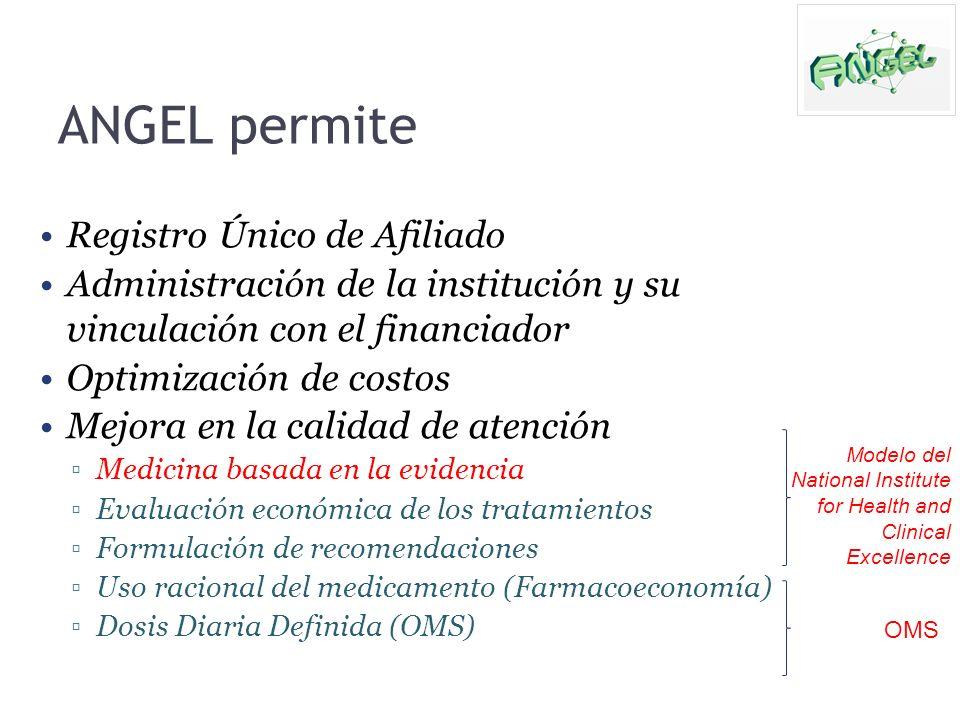 ANGEL permite Registro Único de Afiliado Administración de la institución y su vinculación con el financiador Optimización de costos Mejora en la cali