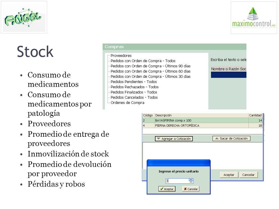 Stock Consumo de medicamentos Consumo de medicamentos por patología Proveedores Promedio de entrega de proveedores Inmovilización de stock Promedio de