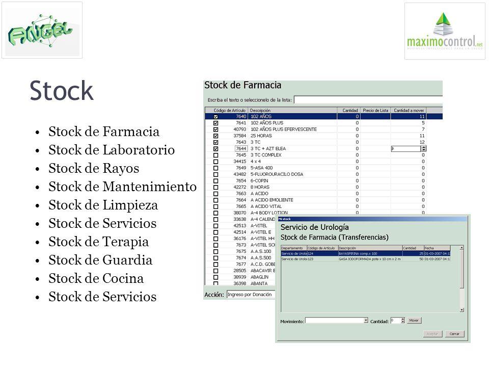 Stock Stock de Farmacia Stock de Laboratorio Stock de Rayos Stock de Mantenimiento Stock de Limpieza Stock de Servicios Stock de Terapia Stock de Guar