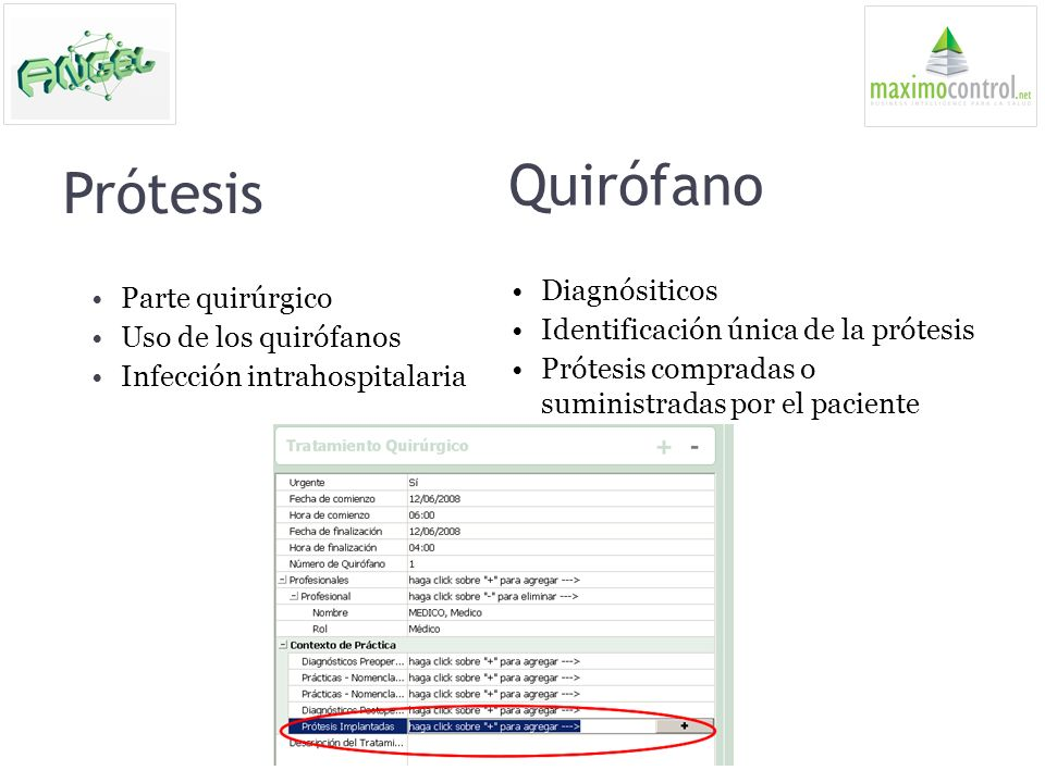 Prótesis Diagnósiticos Identificación única de la prótesis Prótesis compradas o suministradas por el paciente Quirófano Parte quirúrgico Uso de los qu
