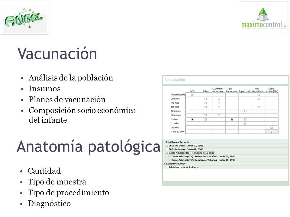 Vacunación Análisis de la población Insumos Planes de vacunación Composición socio económica del infante Anatomía patológica Cantidad Tipo de muestra