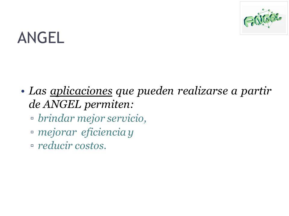 Las aplicaciones que pueden realizarse a partir de ANGEL permiten: brindar mejor servicio, mejorar eficiencia y reducir costos. ANGEL