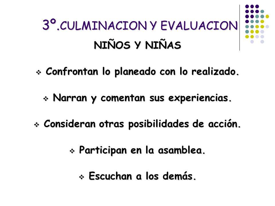 3º. CULMINACION Y EVALUACION NIÑOS Y NIÑAS Confrontan lo planeado con lo realizado. Confrontan lo planeado con lo realizado. Narran y comentan sus exp