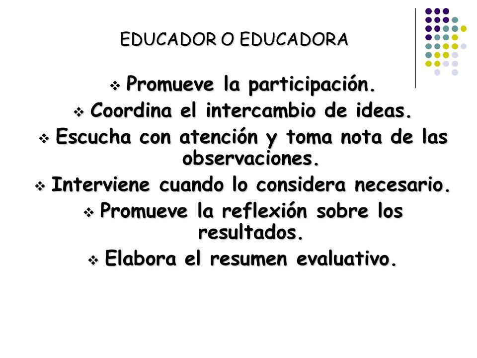 EDUCADOR O EDUCADORA Promueve la participación. Promueve la participación. Coordina el intercambio de ideas. Coordina el intercambio de ideas. Escucha