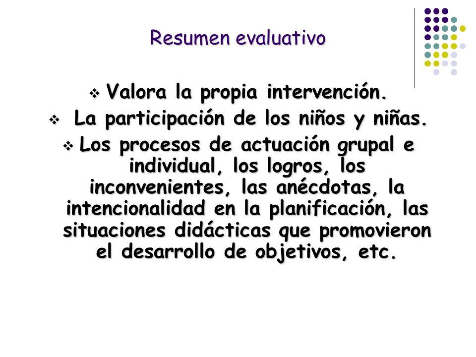 Resumen evaluativo Valora la propia intervención. Valora la propia intervención. La participación de los niños y niñas. La participación de los niños