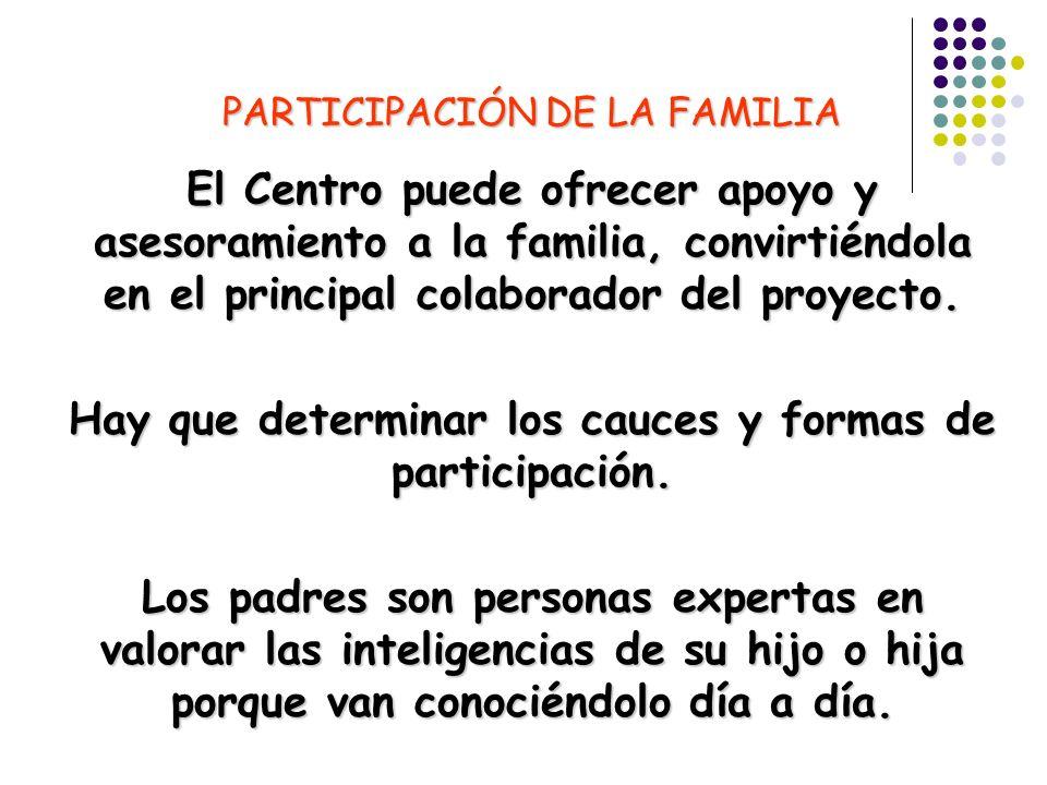PARTICIPACIÓN DE LA FAMILIA El Centro puede ofrecer apoyo y asesoramiento a la familia, convirtiéndola en el principal colaborador del proyecto. Hay q