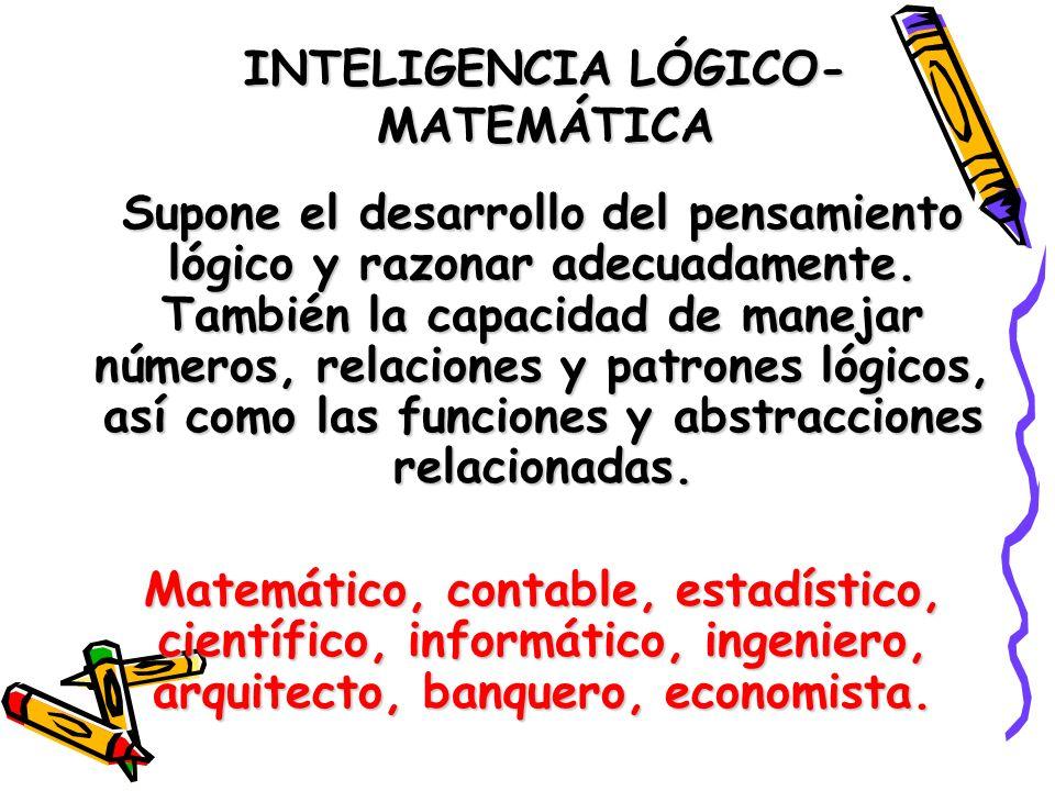 INTELIGENCIA LÓGICO- MATEMÁTICA Supone el desarrollo del pensamiento lógico y razonar adecuadamente. También la capacidad de manejar números, relacion