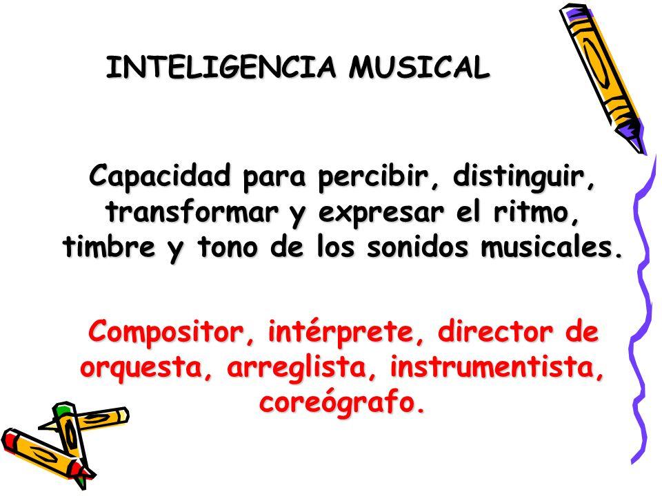INTELIGENCIA MUSICAL Capacidad para percibir, distinguir, transformar y expresar el ritmo, timbre y tono de los sonidos musicales. Compositor, intérpr