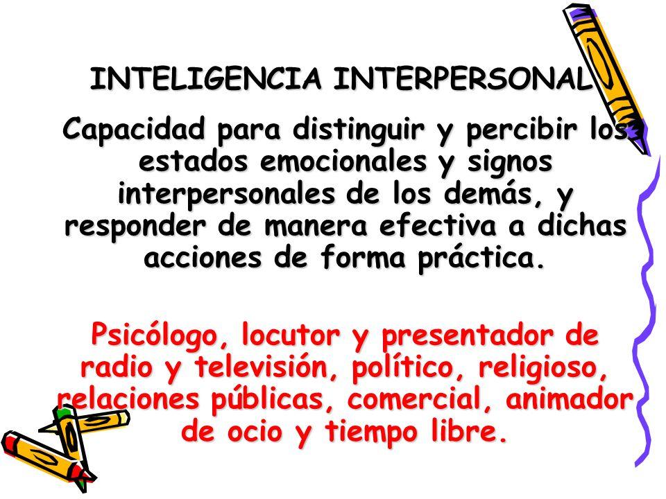 INTELIGENCIA INTERPERSONAL Capacidad para distinguir y percibir los estados emocionales y signos interpersonales de los demás, y responder de manera e
