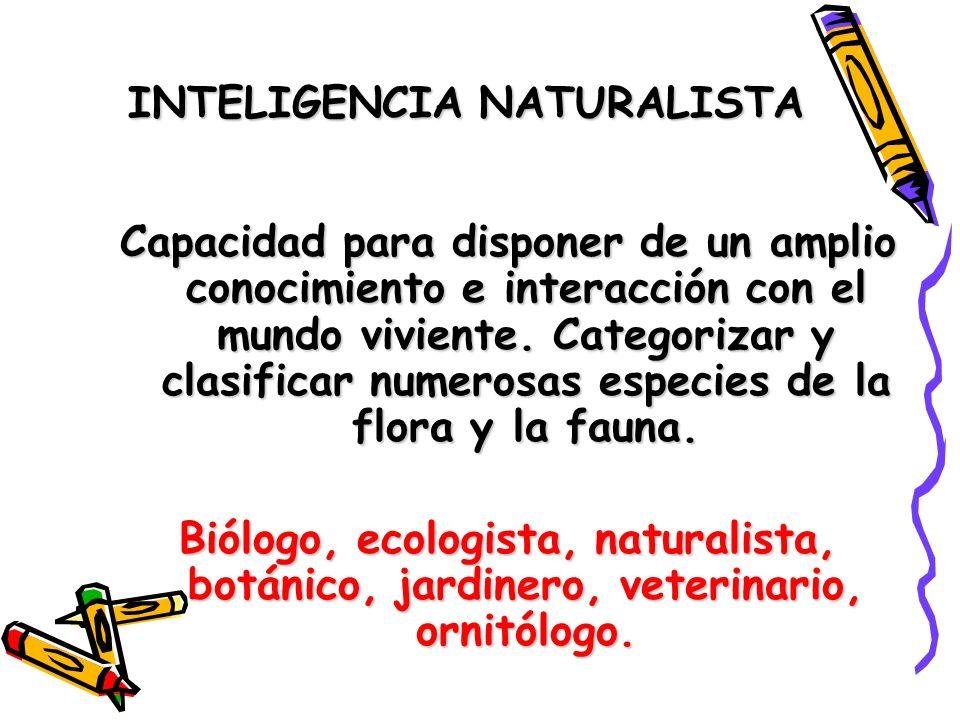 INTELIGENCIA NATURALISTA Capacidad para disponer de un amplio conocimiento e interacción con el mundo viviente. Categorizar y clasificar numerosas esp