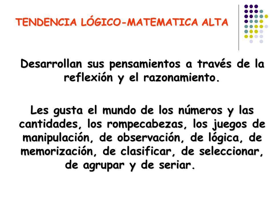 TENDENCIA LÓGICO-MATEMATICA ALTA Desarrollan sus pensamientos a través de la reflexión y el razonamiento. Les gusta el mundo de los números y las cant