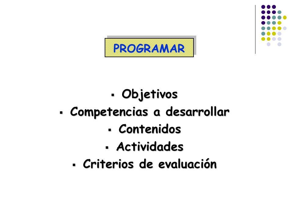 PROGRAMARPROGRAMAR Objetivos Objetivos Competencias a desarrollar Competencias a desarrollar Contenidos Contenidos Actividades Actividades Criterios d