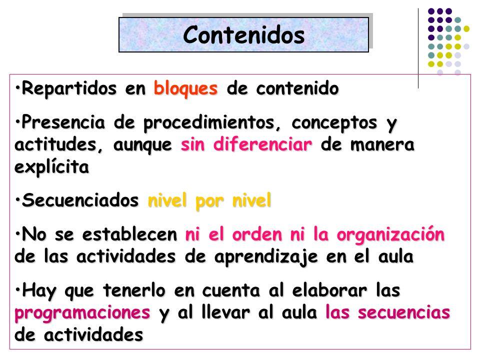 Contenidos Repartidos en bloques de contenidoRepartidos en bloques de contenido Presencia de procedimientos, conceptos y actitudes, aunque sin diferen