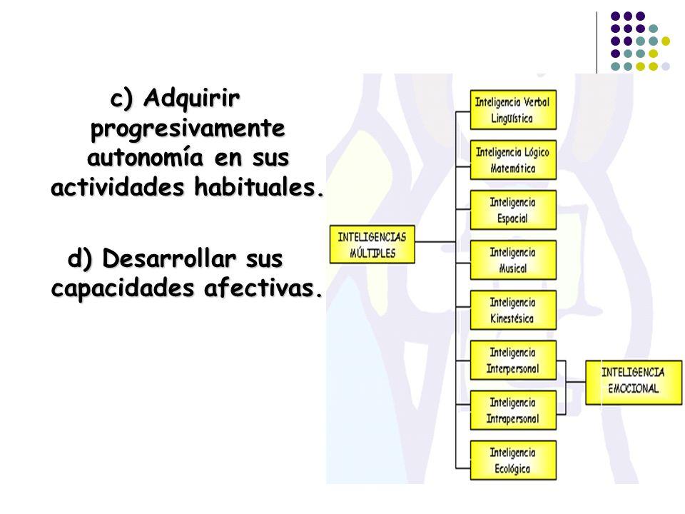 c) Adquirir progresivamente autonomía en sus actividades habituales. d) Desarrollar sus capacidades afectivas.