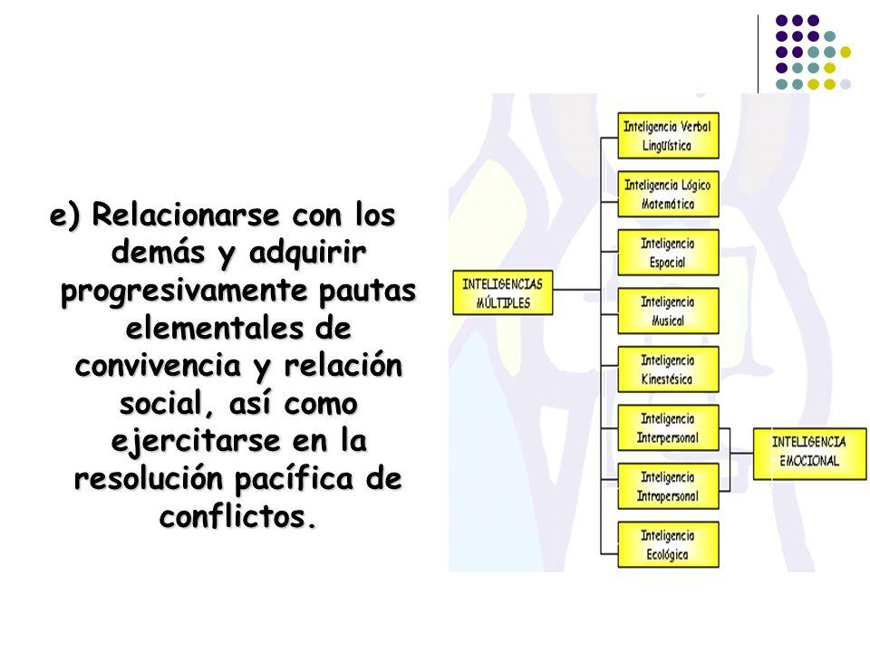 e) Relacionarse con los demás y adquirir progresivamente pautas elementales de convivencia y relación social, así como ejercitarse en la resolución pa