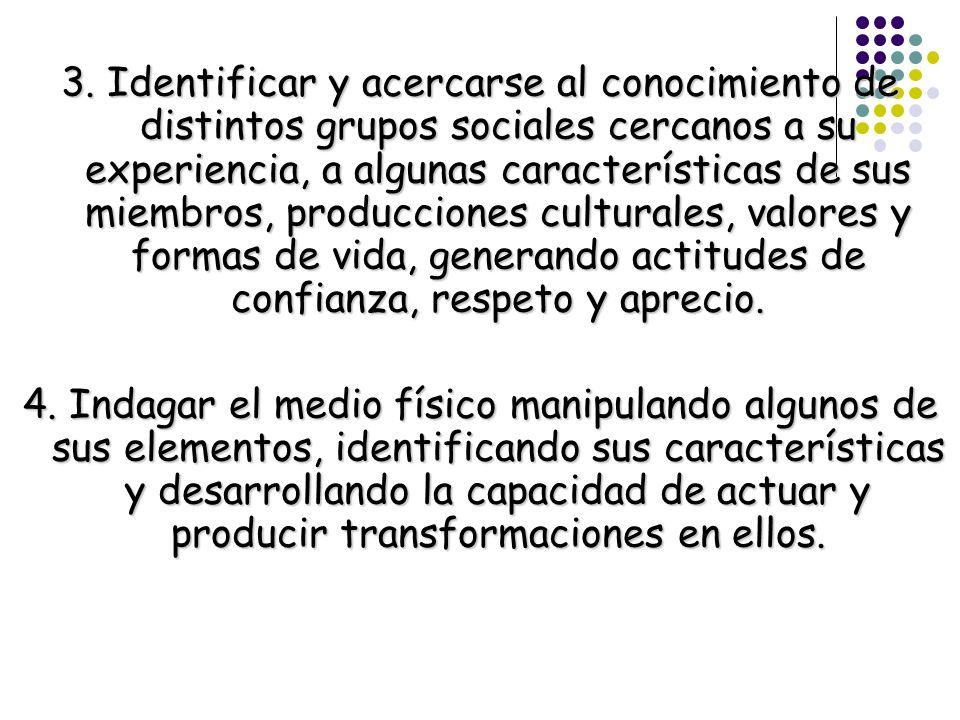 3. Identificar y acercarse al conocimiento de distintos grupos sociales cercanos a su experiencia, a algunas características de sus miembros, producci