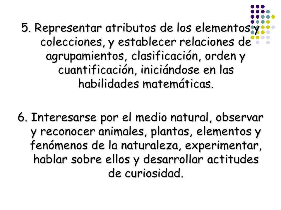 5. Representar atributos de los elementos y colecciones, y establecer relaciones de agrupamientos, clasificación, orden y cuantificación, iniciándose