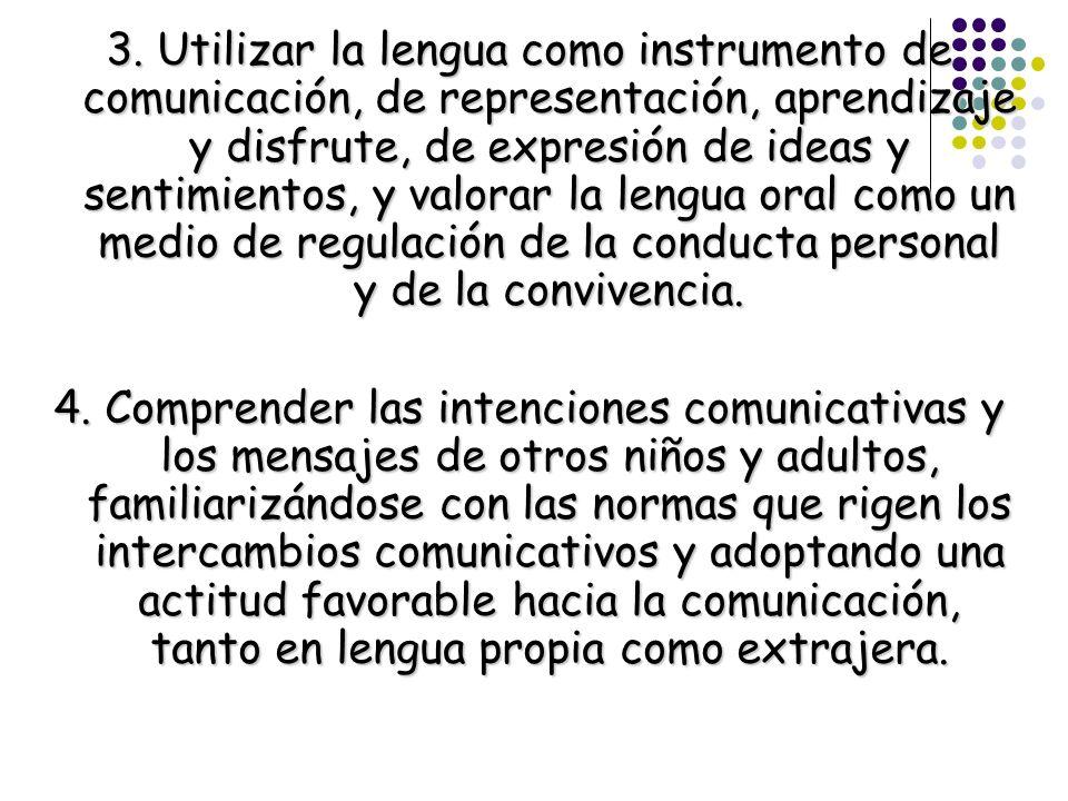 3. Utilizar la lengua como instrumento de comunicación, de representación, aprendizaje y disfrute, de expresión de ideas y sentimientos, y valorar la