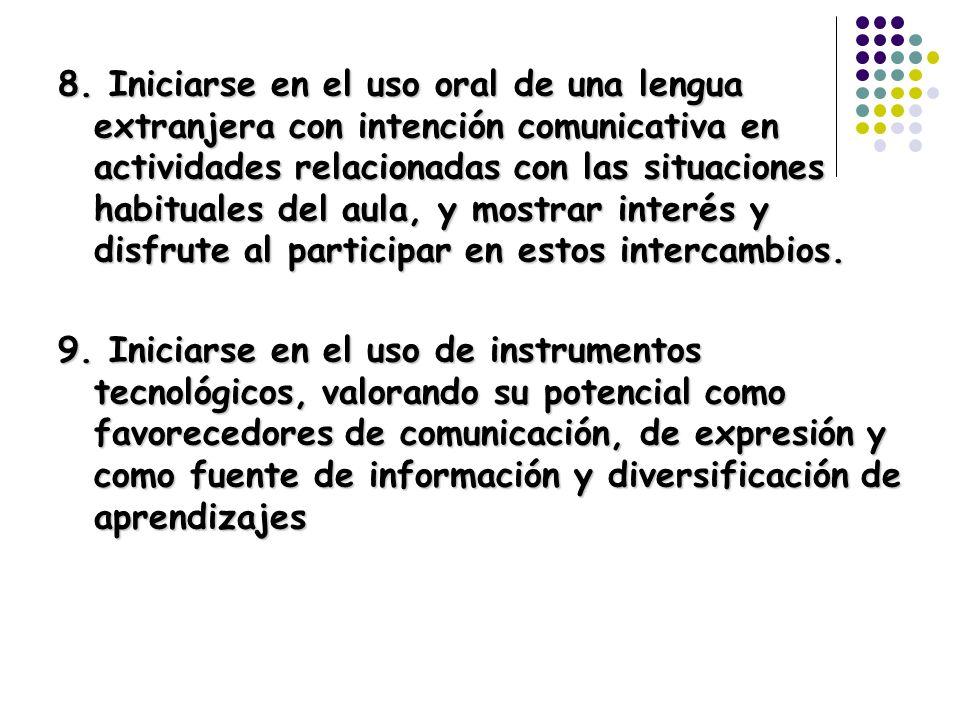 8. Iniciarse en el uso oral de una lengua extranjera con intención comunicativa en actividades relacionadas con las situaciones habituales del aula, y
