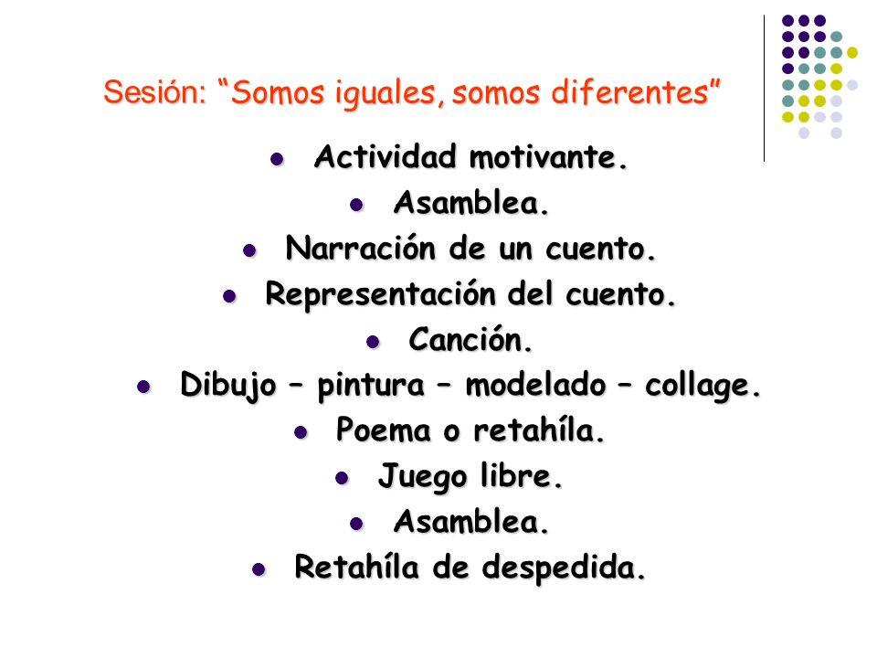Sesión: Somos iguales, somos diferentes Sesión: Somos iguales, somos diferentes Actividad motivante. Actividad motivante. Asamblea. Asamblea. Narració