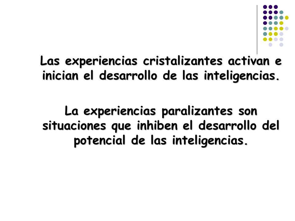 Las experiencias cristalizantes activan e inician el desarrollo de las inteligencias. La experiencias paralizantes son situaciones que inhiben el desa