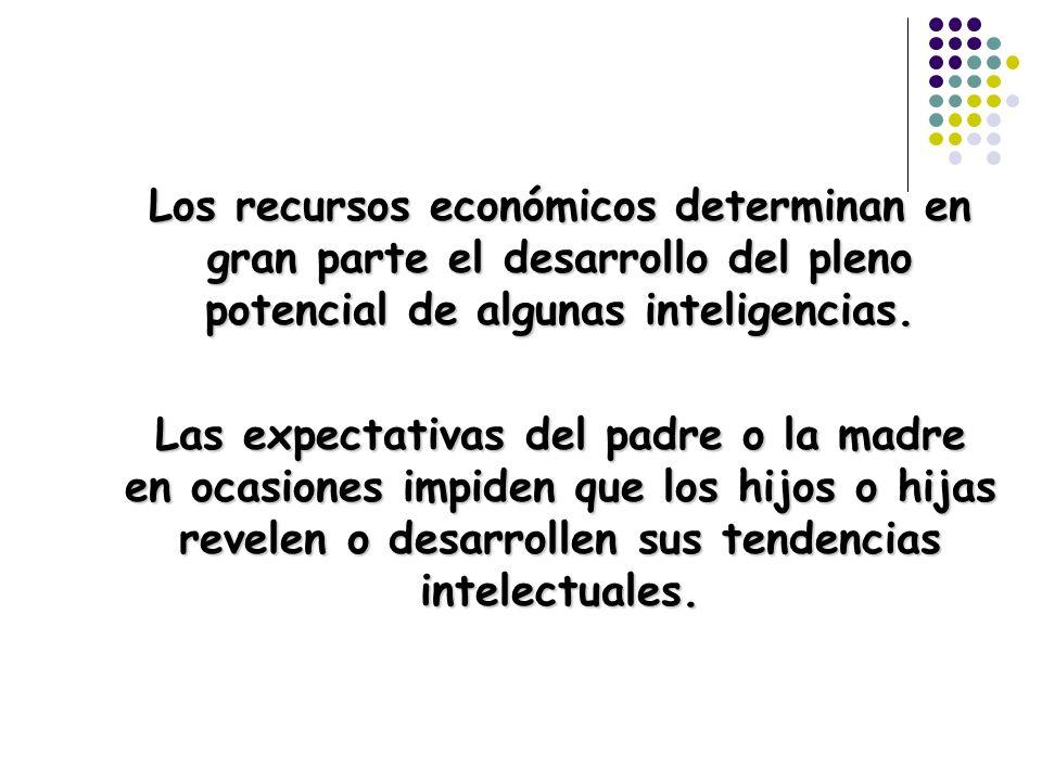 Los recursos económicos determinan en gran parte el desarrollo del pleno potencial de algunas inteligencias. Las expectativas del padre o la madre en