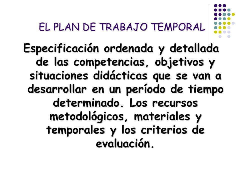 EL PLAN DE TRABAJO TEMPORAL Especificación ordenada y detallada de las competencias, objetivos y situaciones didácticas que se van a desarrollar en un