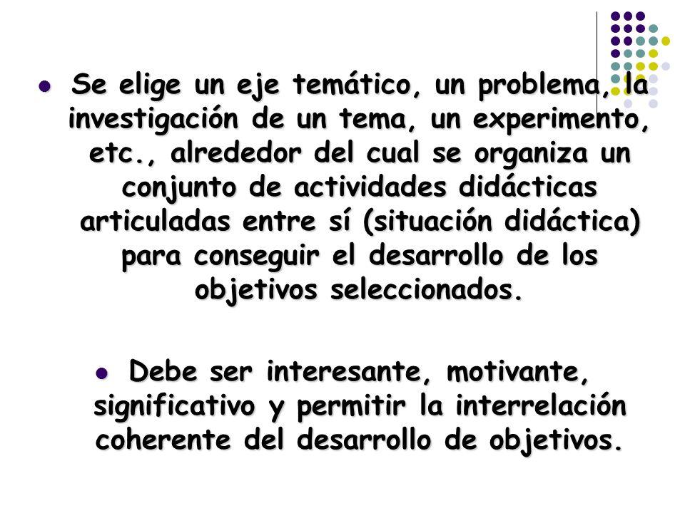 Se elige un eje temático, un problema, la investigación de un tema, un experimento, etc., alrededor del cual se organiza un conjunto de actividades di