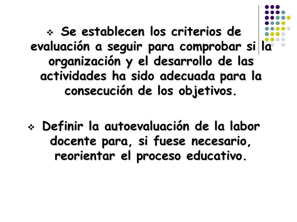Se establecen los criterios de evaluación a seguir para comprobar si la organización y el desarrollo de las actividades ha sido adecuada para la conse