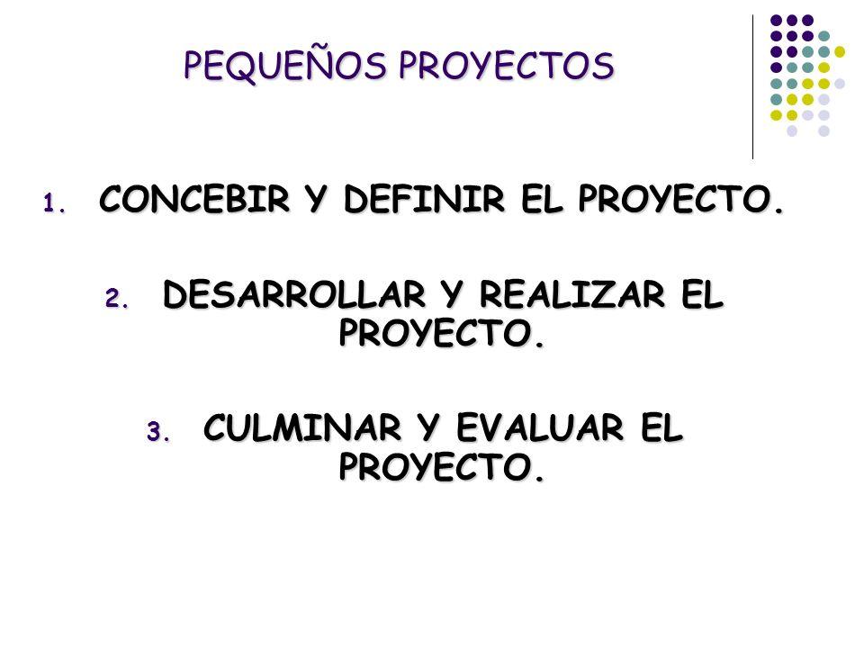 PEQUEÑOS PROYECTOS 1. CONCEBIR Y DEFINIR EL PROYECTO. 2. DESARROLLAR Y REALIZAR EL PROYECTO. 3. CULMINAR Y EVALUAR EL PROYECTO.